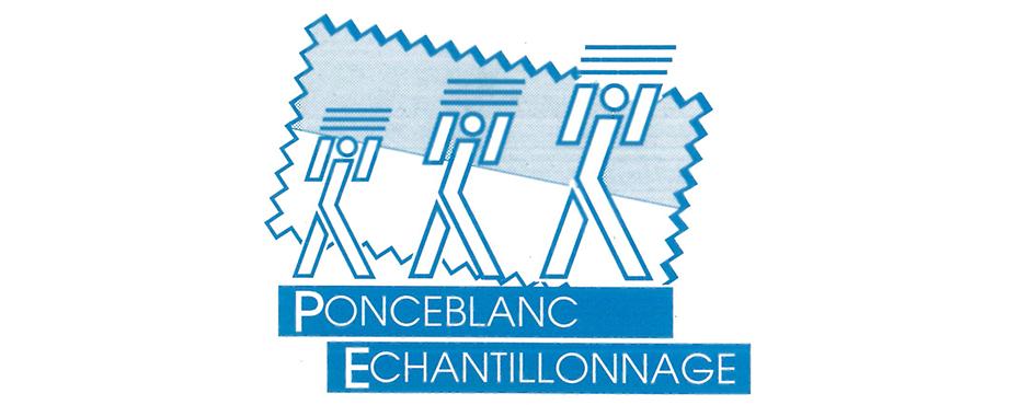 Ancien logo Ponceblanc Échantillonnage. Ce logo, aux trois petits bonshommes représente Monsieur Ponceblanc père et ses deux fils